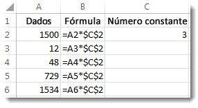 Números na coluna A, fórmula na coluna B com sinais $ e o número 3 na coluna C