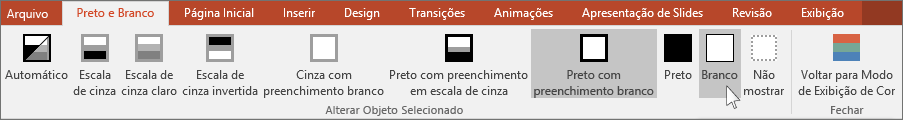 mostra o menu Alterar objeto selecionado no PowerPoint