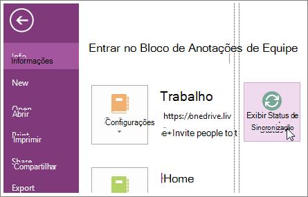 Exiba o status de sincronização dos blocos de anotações do OneNote.