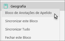 Mostra um bloco de anotações de equipe com um bloco de anotações com apelido selecionado