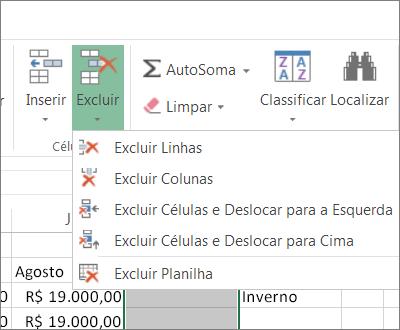 Opções na faixa de opções para excluir células, linhas ou colunas
