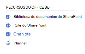 Captura de tela mostrando Office 365 recursos