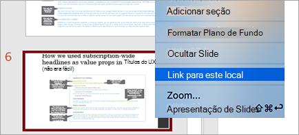 Mostra o link para o slide em uma apresentação