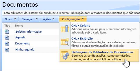 Selecionando a opção configurações da biblioteca de documentos no menu configurações