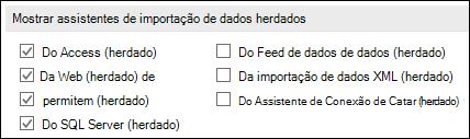 Imagem das opções de obter e transformar herdado Assistente do arquivo > Opções > dados.