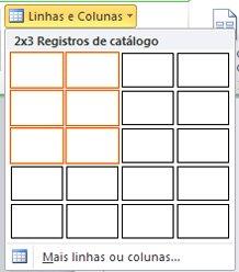 Linhas e colunas do layout da página de catálogo