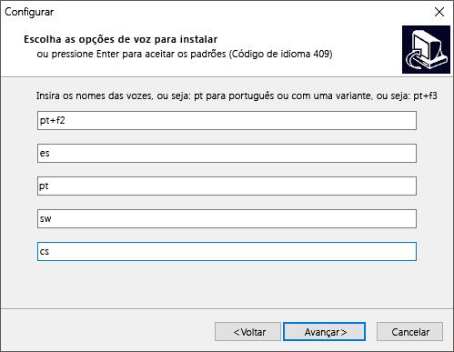 Caixa de diálogo de instalação do eSpeak