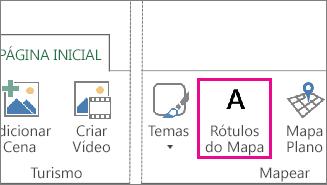 Botão de rótulos de mapa na guia Início do Power Map