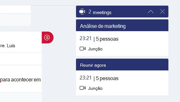Esta captura de tela mostra como participar de uma reunião a partir de uma notificação.