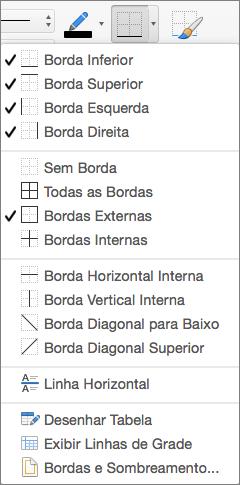 As opções de bordas são exibidas para o design da tabela