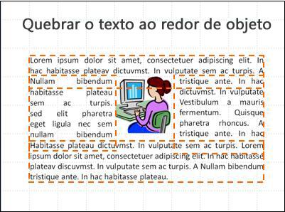 Slide com objeto inserido, caixas de texto mostradas e texto completo.