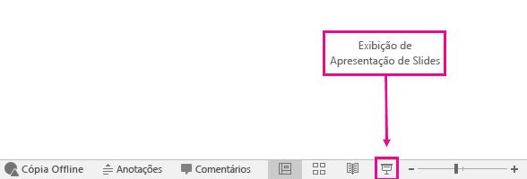 mostra o botão do modo de exibição de apresentação de slides no powerpoint