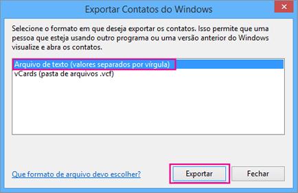 Escolha CSV e Exportar.