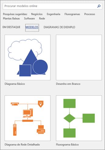 Visualização da página de modelos no Visio