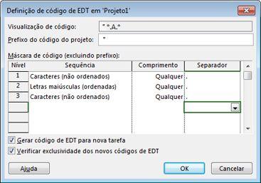 Imagem da caixa de diálogo Definição do Código EDT