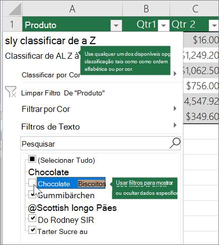 Classificar ou aplicar um filtro à tabela
