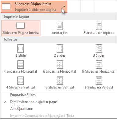 Escolha um layout de impressão