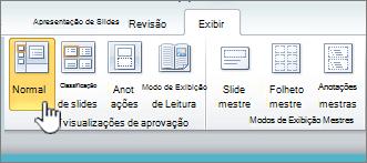 Exibir faixa de opções com botão normal selecionado