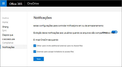 Guia notificações do Centro de administração do OneDrive