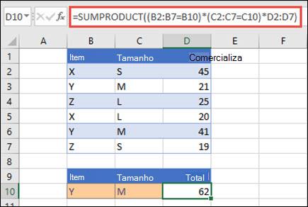 Exemplo de uso da função SUMPRODUCT para retornar o total de vendas quando fornecido com o nome do produto, tamanho e valores de vendas individuais para cada um.
