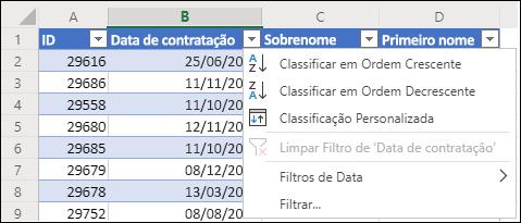 Use o Filtro de Tabela do Excel para classificar em ordem crescente ou decrescente