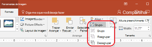 O comando Desagrupar na guia Formato da faixa de opções da PowerPoint, em ferramentas de imagem.