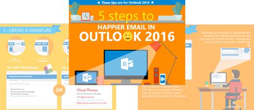 cinco etapas para um Outlook mais feliz