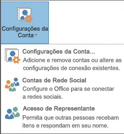Captura de tela da adição de um representante no Outlook