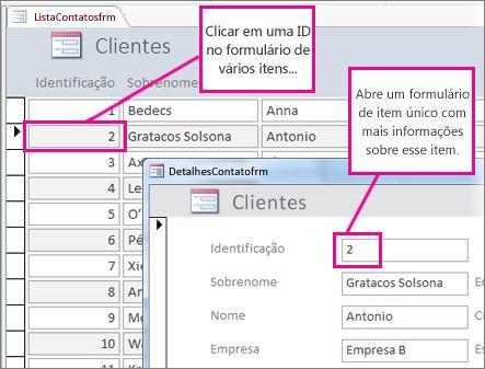 Clicando em uma ID em um formulário de vários itens para abrir um formulário de um único item.