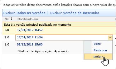 Lista suspensa versionamento em um arquivo com a opção Excluir realçada