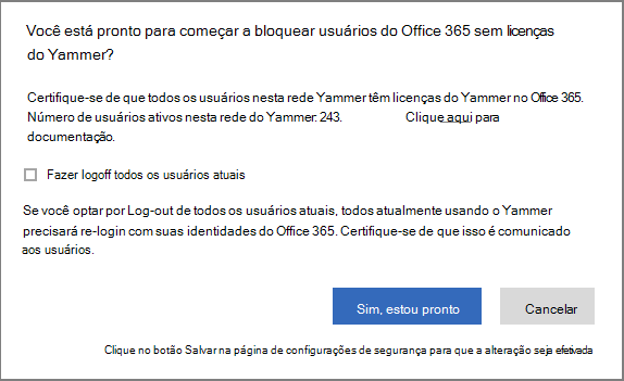 Captura de tela da caixa de diálogo de confirmação para começar a bloquear usuários sem licenças do Yammer