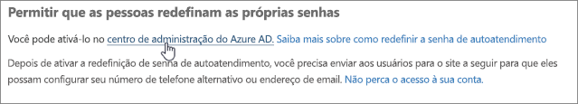 Escolha o link para ir para o centro de administração do Azure.