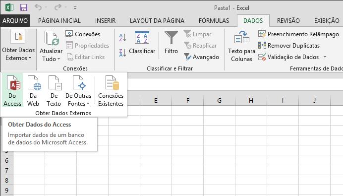 Importar dados do Access com uma faixa de opções pequena