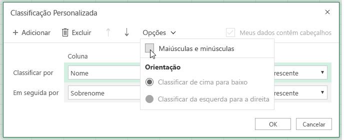 Ordenar caixa de diálogo personalizada quando a diferenciação de maiúsculas e minúsculas estiver selecionada.