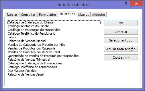 Caixa de diálogo Importar objetos em um banco de dados do Access