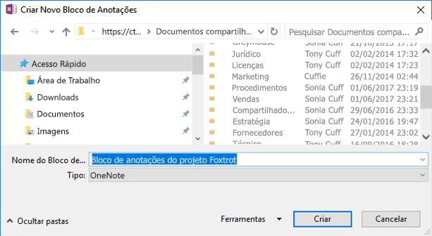 Crie um novo bloco de notas no OneNote para Windows 2016