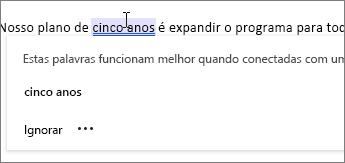 Clique diretamente em um termo assinalado para obter sugestões do Editor.