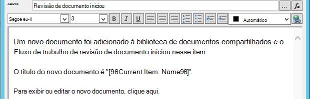 Inserindo hiperlink para o item atual 3