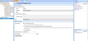 Página do Dashboard Designer mostrando Vendas de Equipamento como a nova fonte de dados