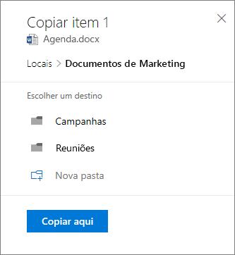 Captura de tela do processo de escolher uma localização ao copiar um arquivo para o SharePoint