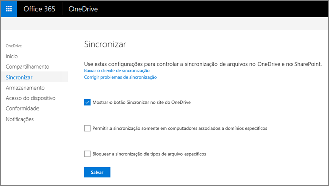 A guia Sincronizar do Centro de administração do OneDrive