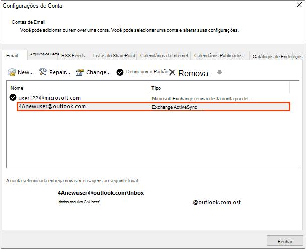 Configurações de Conta do Outlook, Contas de Email