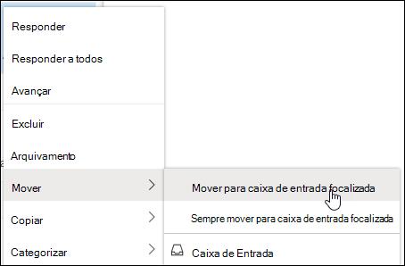 Uma captura de tela mostra o menu de atalho com a caixa de entrada mover para a caixa de entrada prioritária e sempre mover para as opções de caixa de entrada prioritárias.