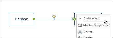Forma da mensagem, menu de clique com o botão direito do mouse, comando assíncrono selecionado