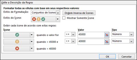 Caixa de diálogo com opções de conjunto de ícones para formatação condicional