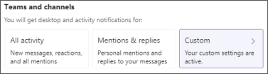 Personalizar as notificações de canal do teams