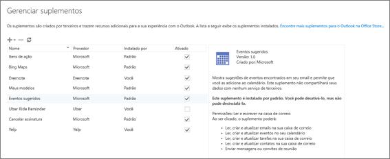 """Captura de tela da janela """"Gerenciar suplementos"""", na qual você pode adicionar ou remover suplementos, exibir informações sobre um suplemento e acessar a Office Store para encontrar mais suplementos para o Outlook. O suplemento Reuniões Sugeridas é selecionado e são exibidas informações sobre ele."""