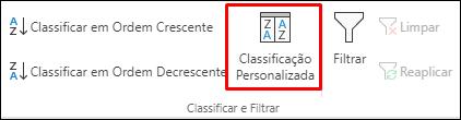 Opções de Classificação Personalizada na guia Dados do Excel