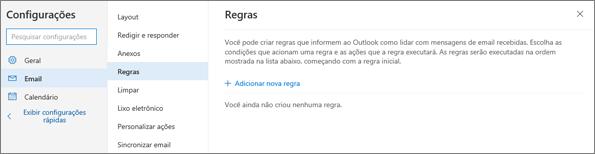 Uma captura de tela mostra a página de Regras em Email nas Configurações do Outlook.com.