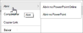 Menu de elipse de arquivo com aberta realçado